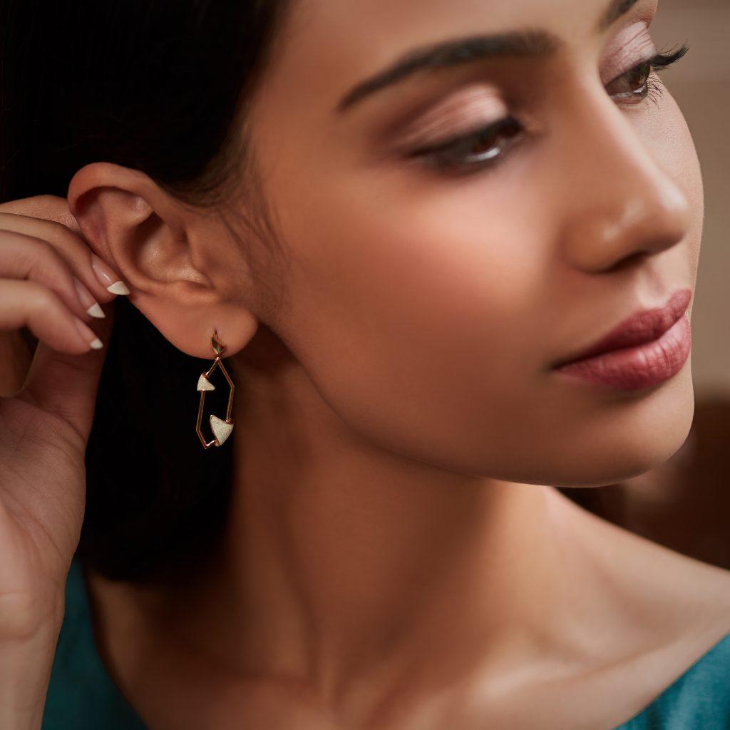 gold earrings, gold jewellery, enamel jewellery