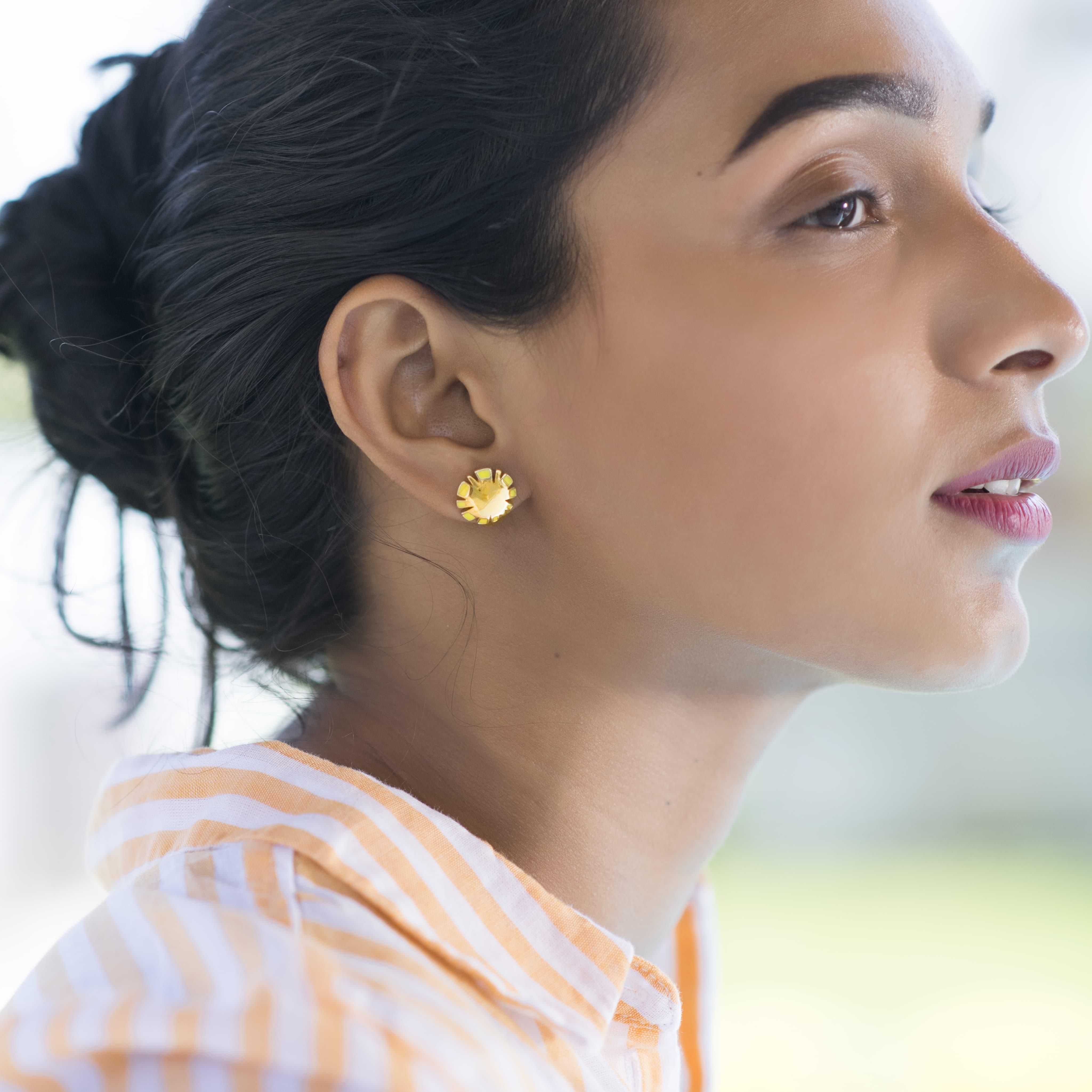 gold earrings enamel earrings