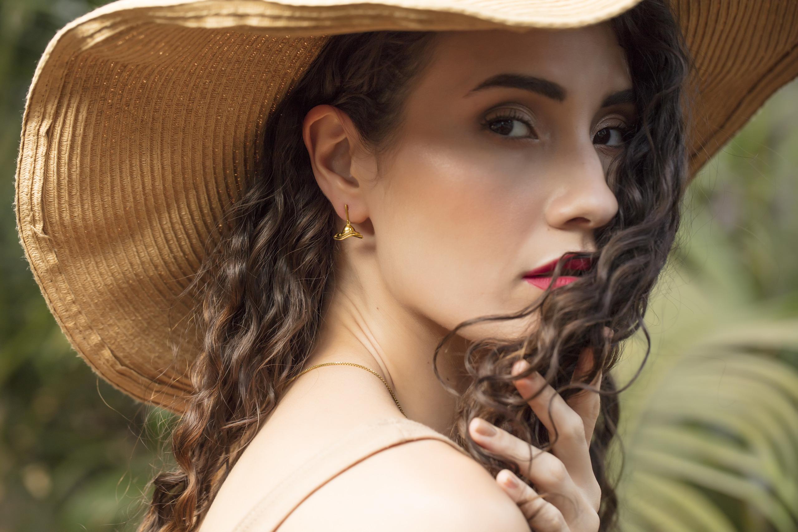 Winter Hats Gold Drop Earrings