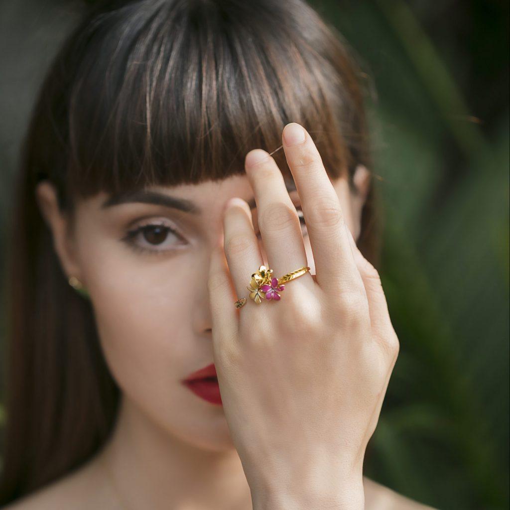 Frangipani gold enamel ring