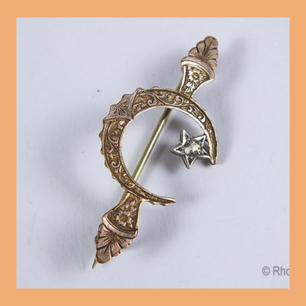 Crescent moon with star antique brooch