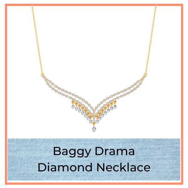 Big Blue Jean Trend Diamond Necklace
