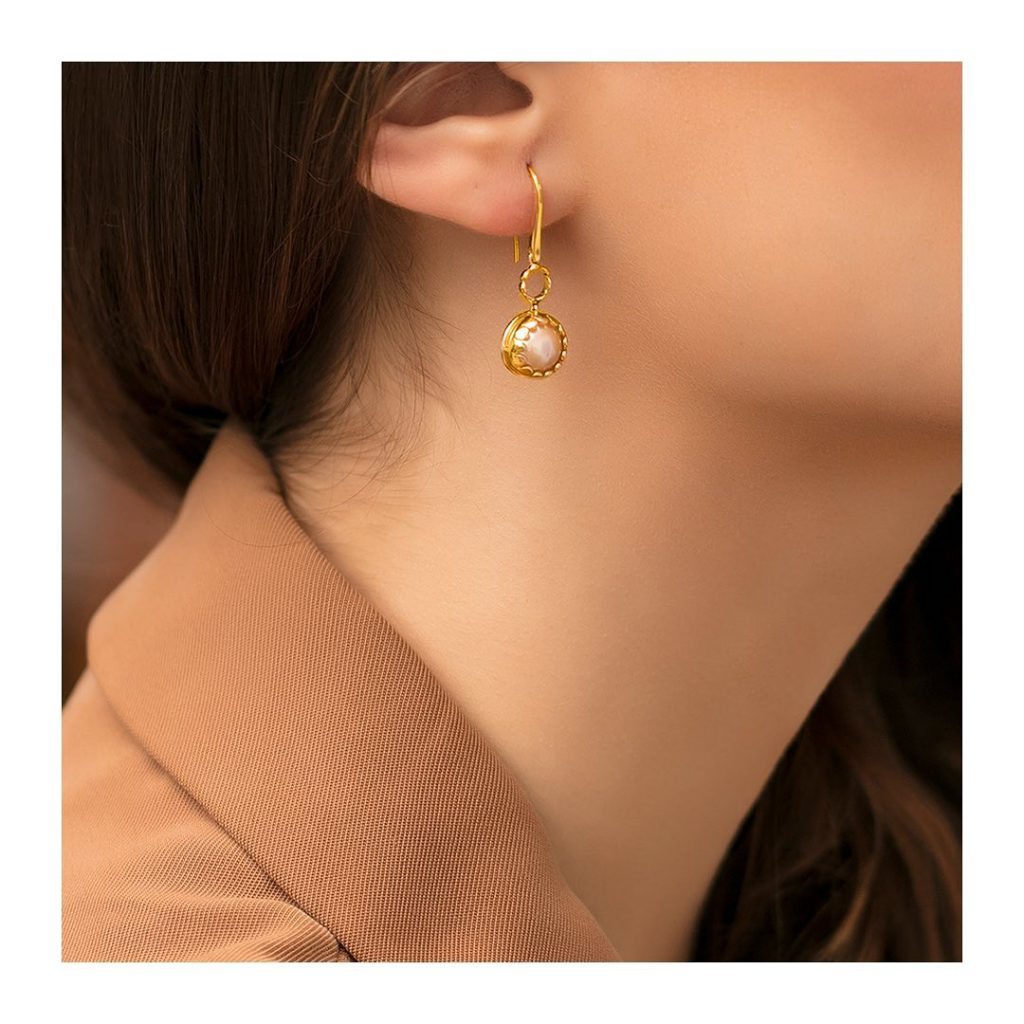 Think In Beige Rose Gold Gemstone Drop Earring