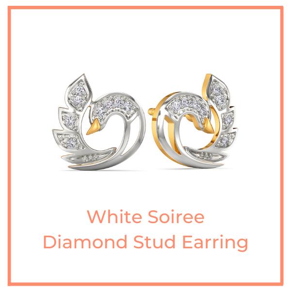 White Soiree Diamond Stud Earrings
