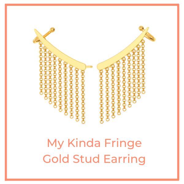 My Kinda Fringe Gold Stud Earring