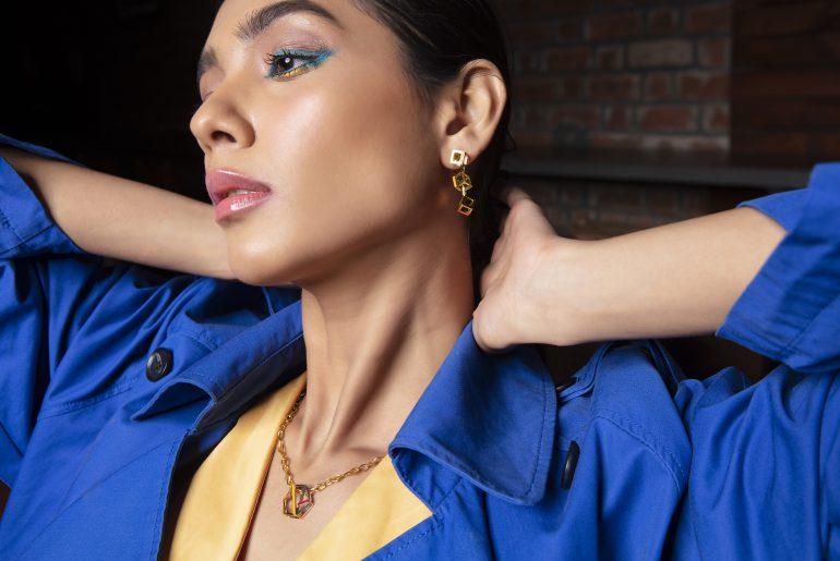 Summer splash enamel gold jewellery