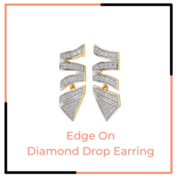 Edge On Diamond Drop Earrings