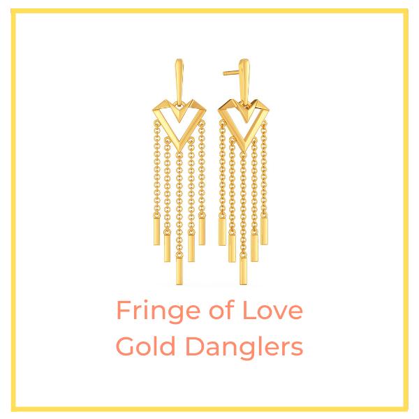 Fringe of Love Gold Danglers
