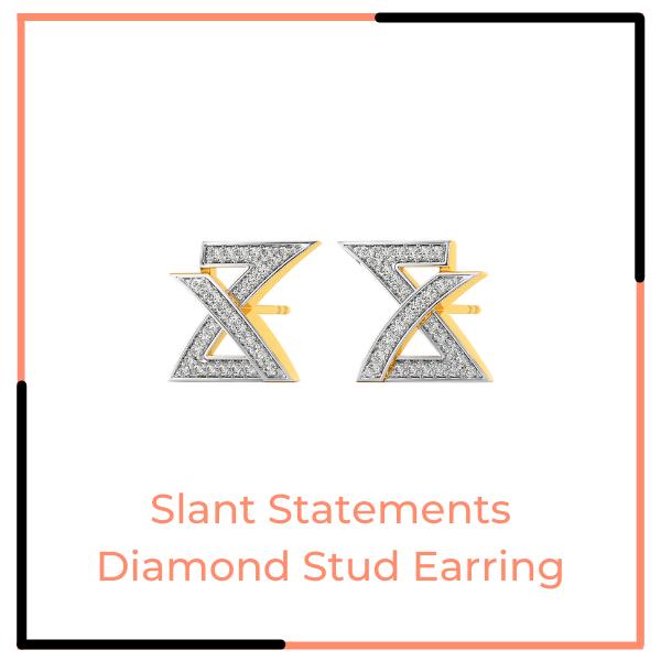 Slant Statements Diamond Stud Earring