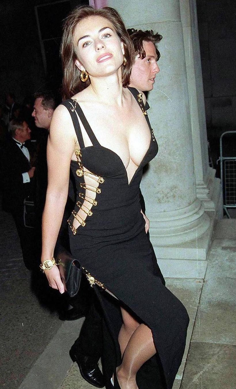 Elizabeth Hurley wearing 'The Dress' by Versace